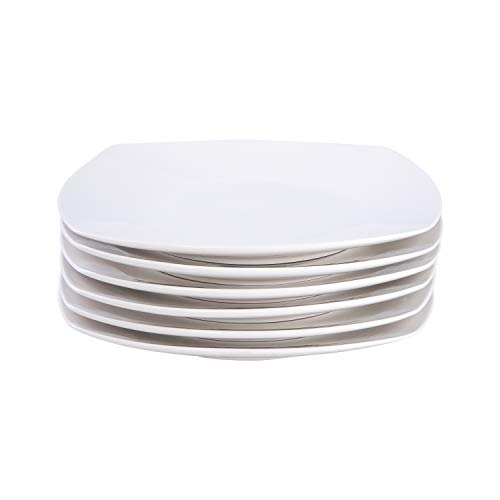 Cutiset 10.5 Inch Porcelain Square Salad/Desert Dinner Plates, Set of 6, White (10.5 Inch, Square) (Porcelain Plates Square)