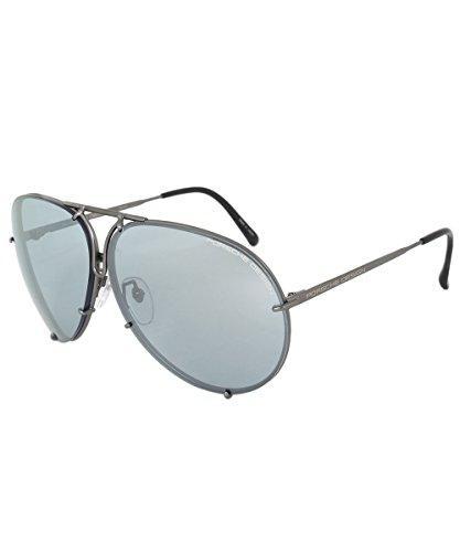 Porsche Design Design P8978 C 69 Aviator Sunglasses for Men | Dark Grey Titanium Frame | Interchangeable Light Blue - Logo Sunglasses Design
