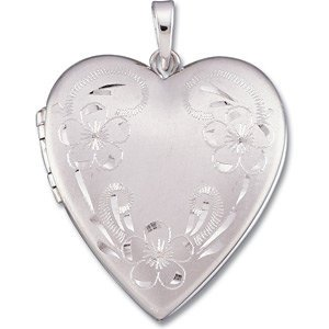 14k White Gold Brushed Satin Engraved Flowers Heart Locket by The Men's Jewelry Store (for HER)