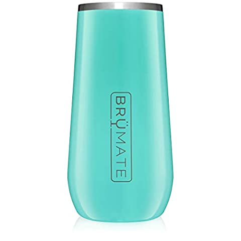 BrüMate 12oz Insulated Champagne Flute With Flip-Top Lid – Made With Vacuum Insulated Stainless Steel (Aqua)