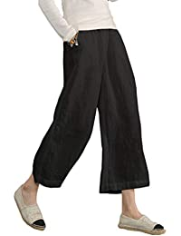 959a50d10c3 Womens Casual Loose Plus Size Elastic Waist Cotton Trouser Cropped Wide Leg  Pants