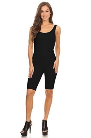 Women Sleeveless Stretch Skinny Solid Knee Length Sport Unitard Bodysuits Active (Large, Black_seller) by Stretch Cotton Bodysuit (Image #1)