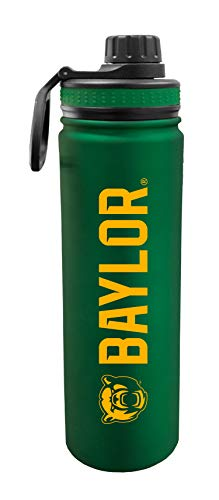Baylor University Bears 24 oz Stainless Steel Double Walled Insulated Water Bottle w/ Sport Lid – Zero Condensation – NCAA D1 College Gear – Clip to Your Backpack & Proudly Rep BU