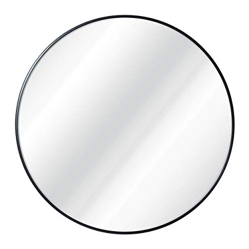 HBCY Creations Circle Wall Mirror 30 Inch Black Round Wall Mirror for - Mirrors Rectangular Bathroom Wooden
