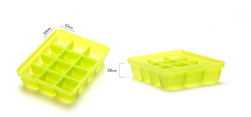 Silicone Ice Mold I-Cube Multi Cube Baby Food Starage Container (Orange+Red+Viloet+Green) by Bibito (Image #5)