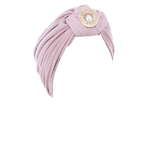 Ladies Headscarves Turban with Gold Pearl Circle-Light Pink ()