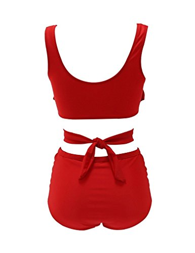 Lukitty Women's 2PCS Plus Size High Waist Strappy Bikini Set Swimsuits Swimwear L Red
