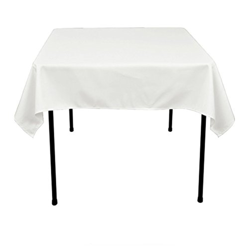 (TRLYC 54 x 54-Inch Seamless White Square Polyester Tablecloth for Wedding Party)