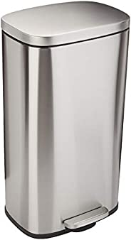 AmazonBasics Rectangular, Stainless Steel, Soft-Close, Step Trash Can, 30 Liter / 7.9 Gallon, Satin Nickel