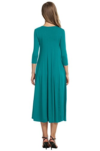 Sleeve Dress Women's 4 Hotouch Flare 1 Long Line and Midi jade Green 3 A StRRqvWng