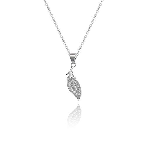 AMYJANE Leaf Pendant Necklace for Women - 14k White Gold Plated Small Silver Tree Leaf Charm Cubic Zirconia Crystal CZ Elegant Pendant Necklace for Women Girls Great Birthday Gift