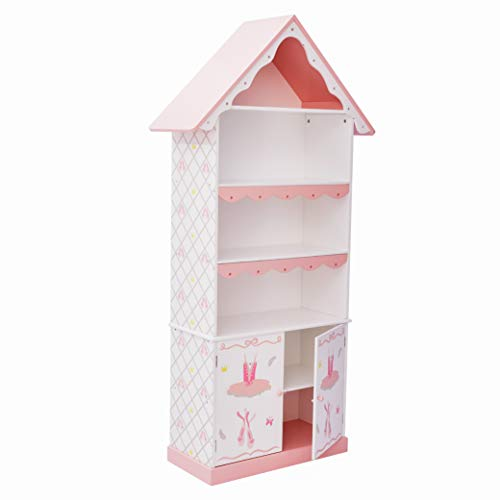 Fantasy Fields Td-12717A Swan Lake Ballerina Bookshelf, Hand-Crafted & Hand-Painted Kids Wooden Furniture, White/Pink
