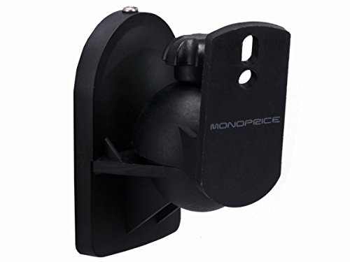 Monoprice Low Profile 7.5 lb. Capacity Speaker Wall Mount Brackets (Pair) Black