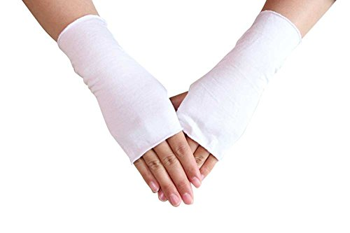 White Stretchy Cotton Gloves (WomeWell Women Solid Color Sun Block Fingerless Wrist Length Driving Gloves White)