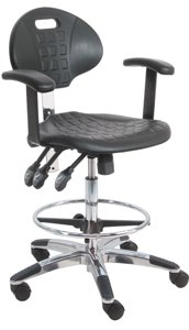 (BenchPro Deluxe HD Cleanroom Lab Polyurethane Chair / workbench stool with Aluminum base and adjustable arm)