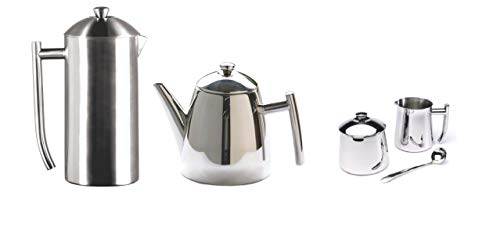 tainless Steel Set of Double Wall French Press Coffee Maker 36-Ounce, Primo Teapot with Infuser 34-Ounce, Creamer/Frothing Pitcher 10-Ounce and Sugar Bowl with Spoon 10-Ounce ()