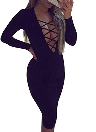 Allegrace Women Sexy Long Sleeve Autumn Warm Stretch Bodycon Party Bandage Dresses L Black ()