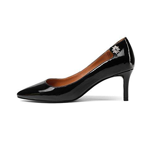AJUNR Moda/elegante/Transpirable/Sandalias Señaló el cabello Tacon fino Zapatos de mujer Lentejuelas Poca boca Black 7cm zapatos de tacon alto Treinta y nueve 39