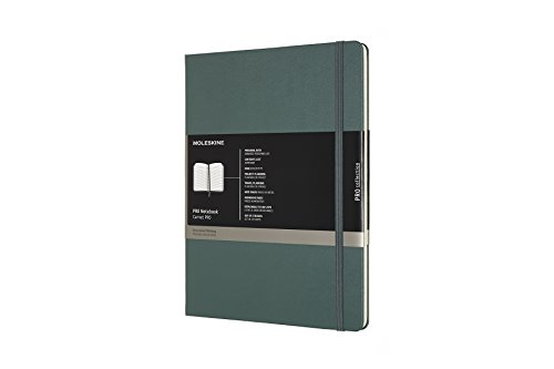 """Moleskine PRO Notebook, Hard Cover, XL (7.5"""" x 9.5"""") Professional Project Planning, Forest Green, 192 Pages"""