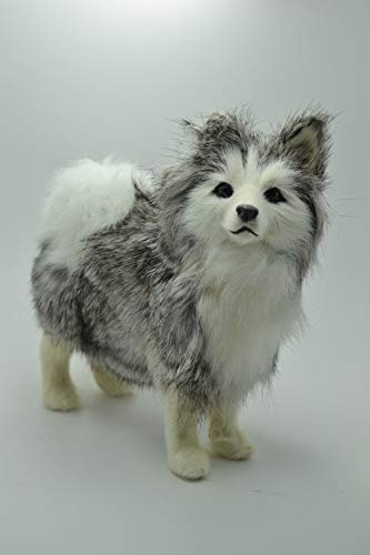 ZAMTAC Simulation Animal Standing Husky Dog 16x15cm Model Toy polyethylene & Furs Handicraft,Decoration Gift, Baby Toy A548