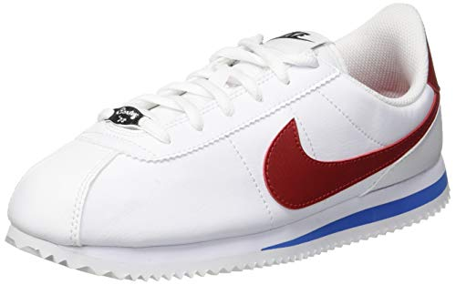 (Nike Kid's Cortez Basic SL GS, White/Varsity RED, Youth Size 4)
