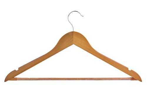 Light Cherry Everyday Wood Hangers with Non-Slip Bar and Notches, Super Sturdy and Durable Wood, 24 pack by Neaties (Image #5)