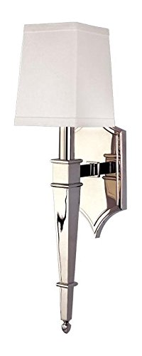 Polished Nickel Single Light Up Lighting Brass Wallchiere Style Wall Sconce with Cubic Faux Silk Shade