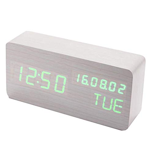 Price comparison product image Wood Alarm Clock LED Cube Wooden Clock Voice Control Electronic Desk Table