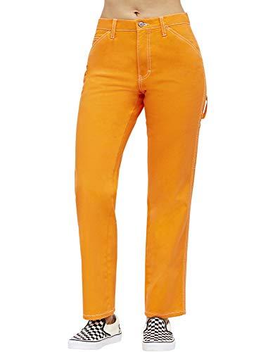 Dickies Girl Juniors' Relaxed Fit High-Rise Twill Carpenter Pants (Orange, 1) -