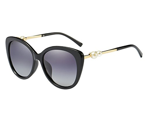 BVAGSS New Cateye Polarized Glasses Artificial Pearls Temple Women Sunglasses WS050 (Black Frame, Black - Sunglasses Pearl