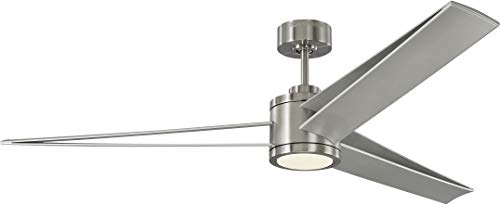 Monte Carlo 3AMR60BSD Protruding Mount, 3 Silver ABA  Blades Ceiling fan with 22 watts light, Silver