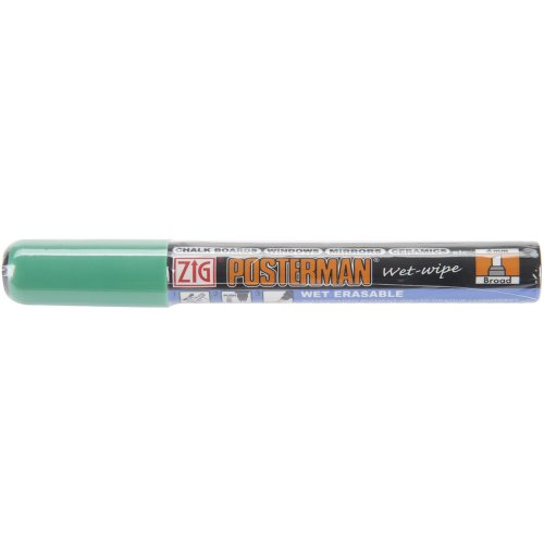 Zig 6mm Posterman Broad Tip Wet Wipe Marker, Green ()