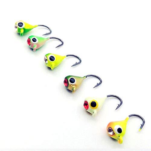 1.1g Carbon - Guy-Sex 6Pcs/Lot Winter Ice Fishing Hook Lure Mini Metal Bait Fish 15mm/1.1g Lead Head Hook Bait Jigging Fishing Tackle