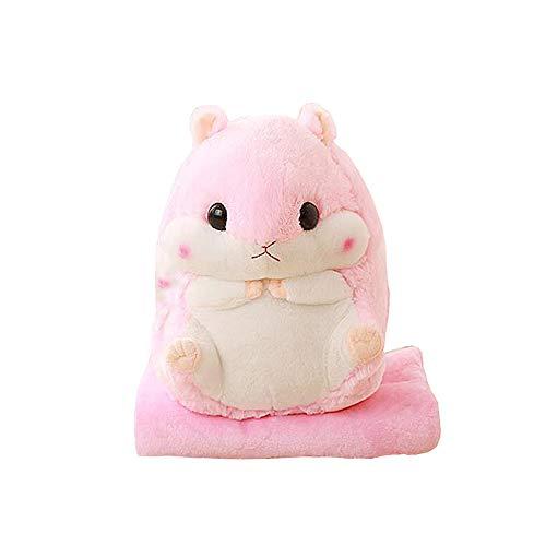 - YunNasi Baby Blanket Plush Hamster Throw Pillow Toy Pink+Blanket 19.7 Inch