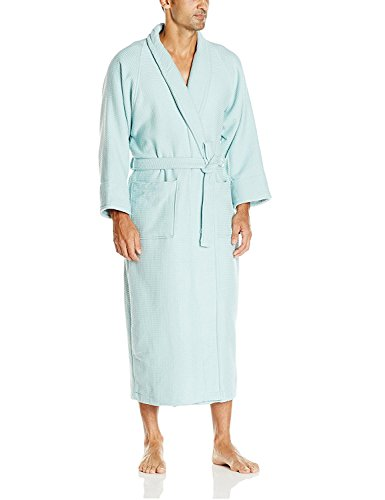 Superior 100% Cotton Waffle Robe with Terrycloth Lining and Shawl Collar, Oversized Unisex Hotel & Spa Bath Robes for Women and Men - Medium, Aqua