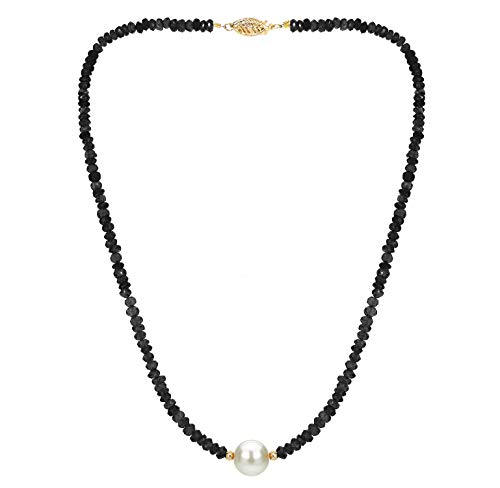 14k Yellow Gold 4mm Simulated Black Spinel and 9-9.5mm White Freshwater Cultured Pearl Necklace, 18