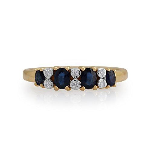 Gemondo Bague Saphir, 9ct Or Jaune 0,65 Ct Saphir Et Diamant Bague Mi-éternité