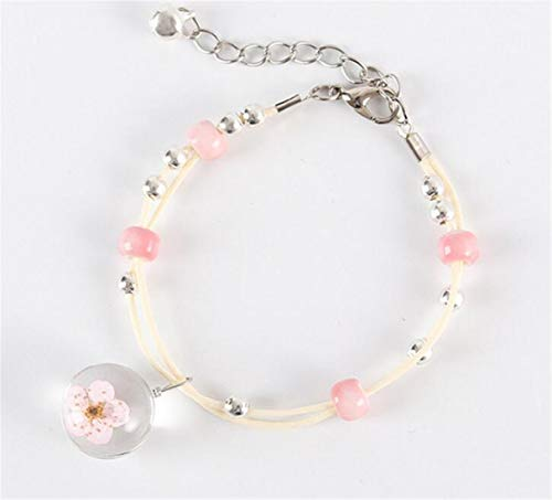 d Wish Bracelet Dried Pressed Dandelion Peach Blossom Glass Ball with Ceramic Beads Handmade Braided Bracelet,Pink ()