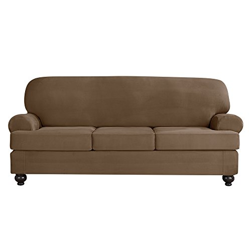 Sure Fit Designer Suede Convertible T-Cushion Sofa 3-Cushion Furniture Cover - Taupe (SF44384) (Suede Sure Soft Fit Sofa)