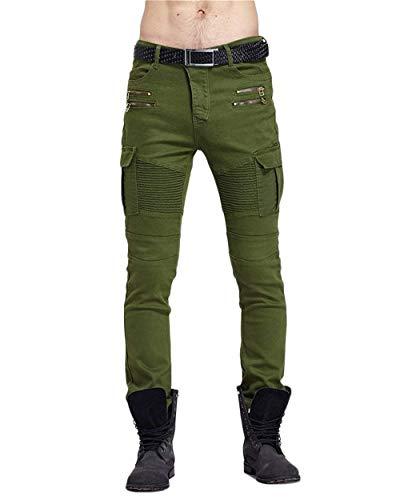 Lannister Fashion Pantalones De Mezclilla De Carga para Hombre Jogging Skinny Biker Jeans Pitillo con Puños Pantalones De Trabajo Pantalones De Trabajo Pantalones De Carga con Multi-Bolsillo Armee-grün