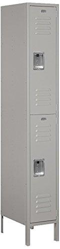 Salsbury Industries 62168GY-U Double Tier 12-Inch Wide 6-Feet High 18-Inch Deep Unassembled Standard Metal Locker, Gray