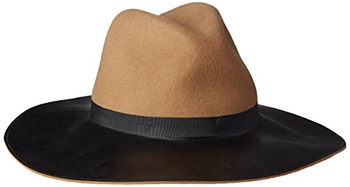 Goorin Bros. Women's Miss Mei Wide Brim Fedora Hat with Faux Leather Brim, Camel, Large