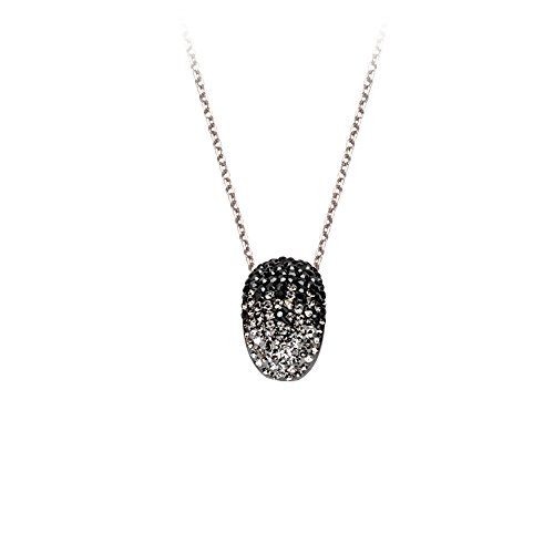 (Sterling Silver Rhodium Plated Puffed Crystal Slide Necklace Gradual Clear Black - 18 Inch)
