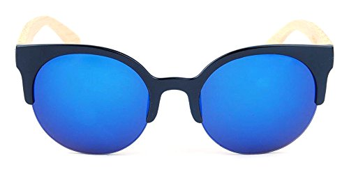 Bois Fashion Lunettes Bambou Bleu nbsp;de Rimless Soleil Homme Femme De All Semi Cateye 1035 Vintage K 5 En Casual ZnYvRqY