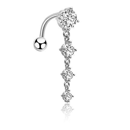 (CrazyPiercing 14G Reverse Belly Ring, Cubic Zirconia Long Dangle Navel Ring, Waterdrop Dangling Body Piercing Belly Button Ring for Women Girls (Silver))
