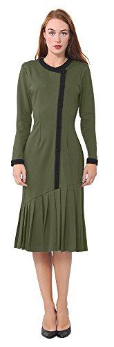 Marycrafts Womens Drop Waist Midi Dress Retro Vintage Flapper 1920s 22 Olive