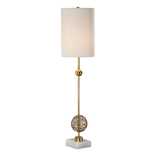 Column Table Lamp - My Swanky Home Tall Slim Woven Brass Sphere Table Lamp | Gold Column Wire White Marble Buffet