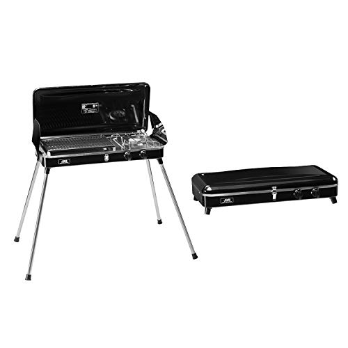 Liquid Propane BBQ Gas Grill,Barbecue Grill Outdoor Cooking Camping Stove Portable Stainless Steel with Free Hose and Adapter for Outdoor Cooking,Black