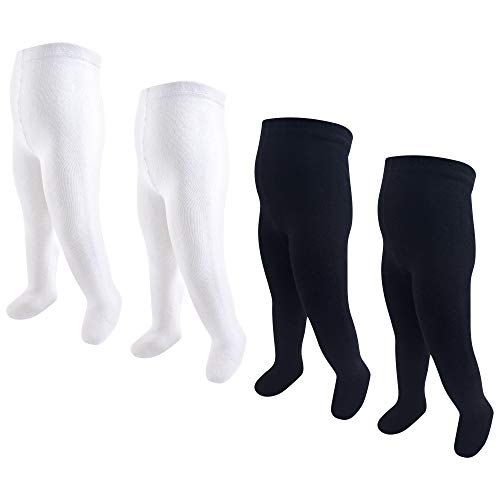Touched by Nature Baby Girls' Organic Cotton Tights, 4 Pack, Black/White, 9-18 Months ()