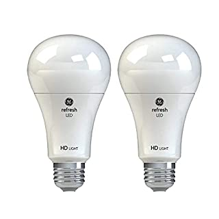GE Refresh HD Dimmable LED Light Bulbs, A21 General Purpose (75 Watt Replacement LED Light Bulbs), 1100 Lumen, Medium Base Light Bulbs, Daylight, 2-Pack LED Bulbs, Title 20 Compliant